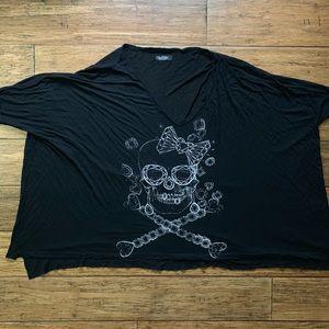 Black Oversized Stretch Tee with Diamond Skull